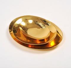 Set of three handmade cast brass trays - 1240569