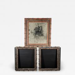 Set of two decorative wooden frames and an old mirror  - 1927845