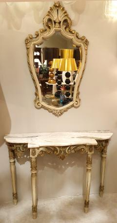 Set with Console Marble Top Giltwood Table Mirror Louis XV Style France 1920s - 1573092
