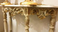 Set with Console Marble Top Giltwood Table Mirror Louis XV Style France 1920s - 1573094
