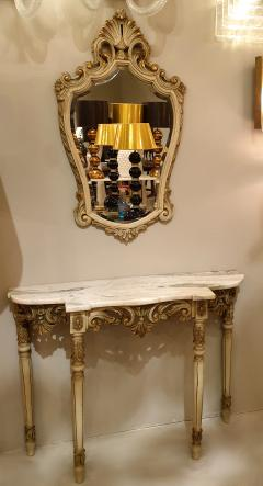 Set with Console Marble Top Giltwood Table Mirror Louis XV Style France 1920s - 1573096