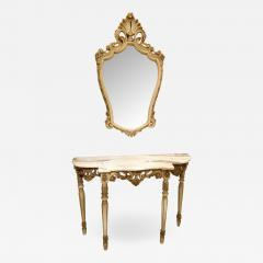 Set with Console Marble Top Giltwood Table Mirror Louis XV Style France 1920s - 1573794