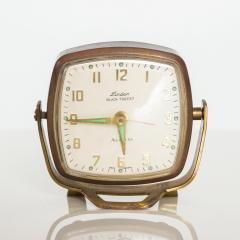 Seth Thomas Modernism by LINDEN Brass Clock Wind Up Alarm Black Forest W Germany - 1709578