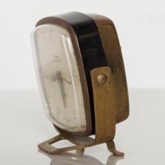 Seth Thomas Modernism by LINDEN Brass Clock Wind Up Alarm Black Forest W Germany - 1709579