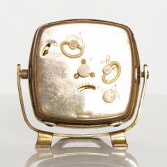 Seth Thomas Modernism by LINDEN Brass Clock Wind Up Alarm Black Forest W Germany - 1709580