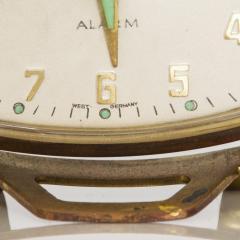 Seth Thomas Modernism by LINDEN Brass Clock Wind Up Alarm Black Forest W Germany - 1709581