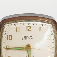 Seth Thomas Modernism by LINDEN Brass Clock Wind Up Alarm Black Forest W Germany - 1709582