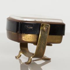 Seth Thomas Modernism by LINDEN Brass Clock Wind Up Alarm Black Forest W Germany - 1709583