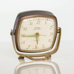 Seth Thomas Modernism by LINDEN Brass Clock Wind Up Alarm Black Forest W Germany - 1709584