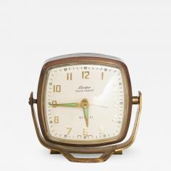 Seth Thomas Modernism by LINDEN Brass Clock Wind Up Alarm Black Forest W Germany - 1711113