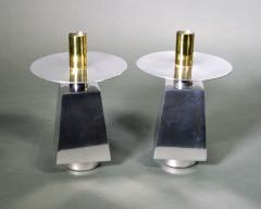 Seven Chrome Brass Mid Century Candlesticks - 1773293