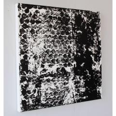 Sheila White Square 3 Black and White Painting on Canvas - 258347