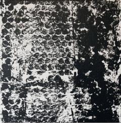 Sheila White Square 3 Black and White Painting on Canvas - 258350