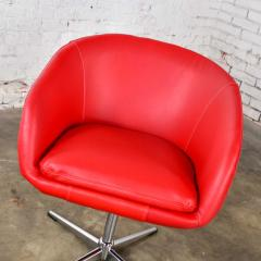 Shelby Williams Mcm swivel bucket chairs new red vinyl faux leather chrome x base - 1900203