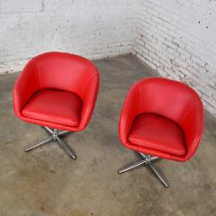 Shelby Williams Mcm swivel bucket chairs new red vinyl faux leather chrome x base - 1900206