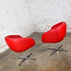Shelby Williams Mcm swivel bucket chairs new red vinyl faux leather chrome x base - 1900211
