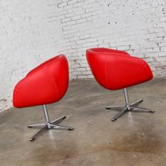 Shelby Williams Mcm swivel bucket chairs new red vinyl faux leather chrome x base - 1900212