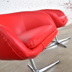 Shelby Williams Mcm swivel bucket chairs new red vinyl faux leather chrome x base - 1900221