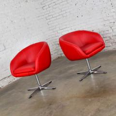 Shelby Williams Mcm swivel bucket chairs new red vinyl faux leather chrome x base - 1900252