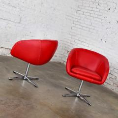 Shelby Williams Mcm swivel bucket chairs new red vinyl faux leather chrome x base - 1900253