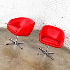 Shelby Williams Mcm swivel bucket chairs new red vinyl faux leather chrome x base - 1900265