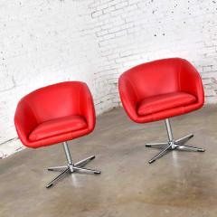 Shelby Williams Mcm swivel bucket chairs new red vinyl faux leather chrome x base - 1900292
