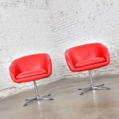 Shelby Williams Mcm swivel bucket chairs new red vinyl faux leather chrome x base - 1900293