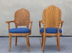 Shell Motif Dining Chairs with Blue Upholstery Set of Six - 359653