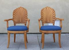 Shell Motif Dining Chairs with Blue Upholstery Set of Six - 359654