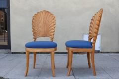 Shell Motif Dining Chairs with Blue Upholstery Set of Six - 359655
