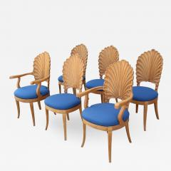 Shell Motif Dining Chairs with Blue Upholstery Set of Six - 360179