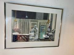 Sherry Plano GHOSTLY FIGURES INSIDE HOSPITAL DISPENSARY WATERCOLOR BY SHERRY PLANO - 1706581