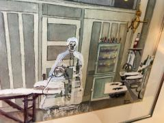 Sherry Plano GHOSTLY FIGURES INSIDE HOSPITAL DISPENSARY WATERCOLOR BY SHERRY PLANO - 1706588