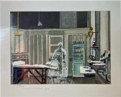 Sherry Plano GHOSTLY FIGURES INSIDE HOSPITAL DISPENSARY WATERCOLOR BY SHERRY PLANO - 1709506