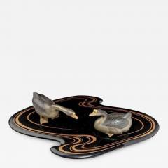 Showa period okimono of two ducks - 900208