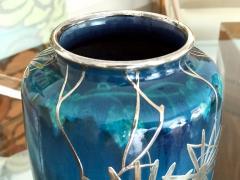 Shreve Co An Art Nouveau Vase with Shreve Co Silver Overly - 917696