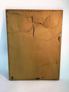 Signed Great Brutalist Bright Orange Pirates Galleon Oil Painting - 413483