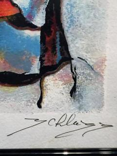 Signed Hand Colored Lithograph of Seated Abstract Women - 413472