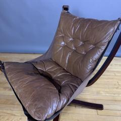 Sigurd Ressell 1970s Sigurd Ressell Low Back Leather Falcon Chair - 1322781
