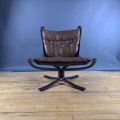 Sigurd Ressell 1970s Sigurd Ressell Low Back Leather Falcon Chair - 1322782