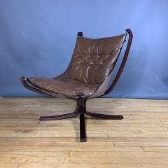 Sigurd Ressell 1970s Sigurd Ressell Low Back Leather Falcon Chair - 1322785