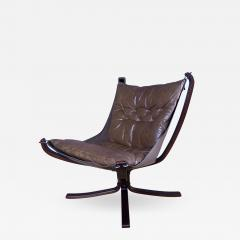 Sigurd Ressell 1970s Sigurd Ressell Low Back Leather Falcon Chair - 1325517