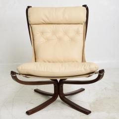 Sigurd Ressell 1970s Tall Falcon Chair Sigurd Ressell for Vatne M bler Ivory Leather NORWAY - 1589334
