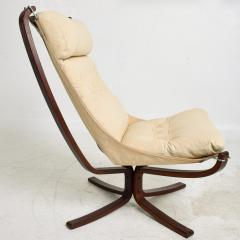 Sigurd Ressell 1970s Tall Falcon Chair Sigurd Ressell for Vatne M bler Ivory Leather NORWAY - 1589335