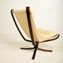 Sigurd Ressell 1970s Tall Falcon Chair Sigurd Ressell for Vatne M bler Ivory Leather NORWAY - 1589338