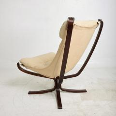 Sigurd Ressell 1970s Tall Falcon Chair Sigurd Ressell for Vatne M bler Ivory Leather NORWAY - 1589341