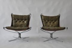 Sigurd Ressell Pair of Sigurd Ressell Leather Falcon Chairs - 394169