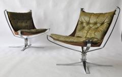 Sigurd Ressell Pair of Sigurd Ressell Leather Falcon Chairs - 394170