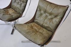 Sigurd Ressell Pair of Sigurd Ressell Leather Falcon Chairs - 394171