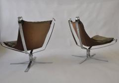 Sigurd Ressell Pair of Sigurd Ressell Leather Falcon Chairs - 394174